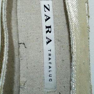 Zara Shoes - Zara Gold Espadrille Pointed Toe Flats Sz 41/10.5